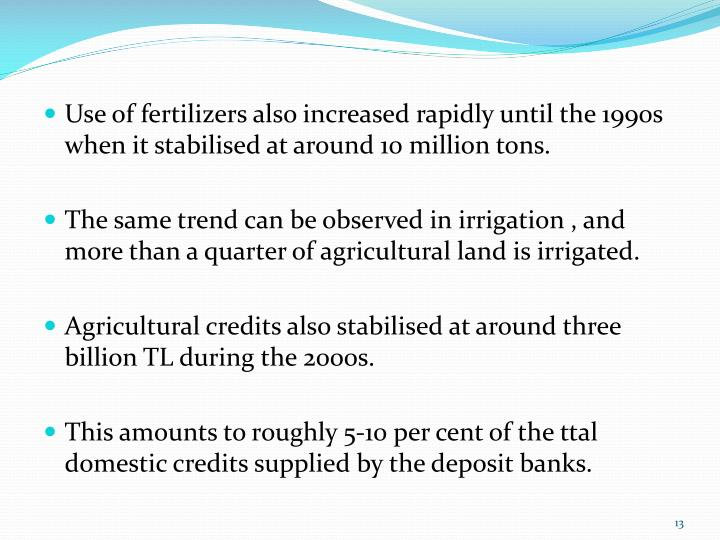 Use of fertilizers also increased rapidly until the 1990s when it stabilised at around 10 million tons.