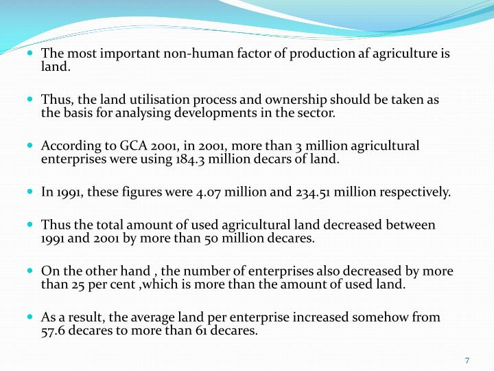 The most important non-human factor of production af agriculture is land.