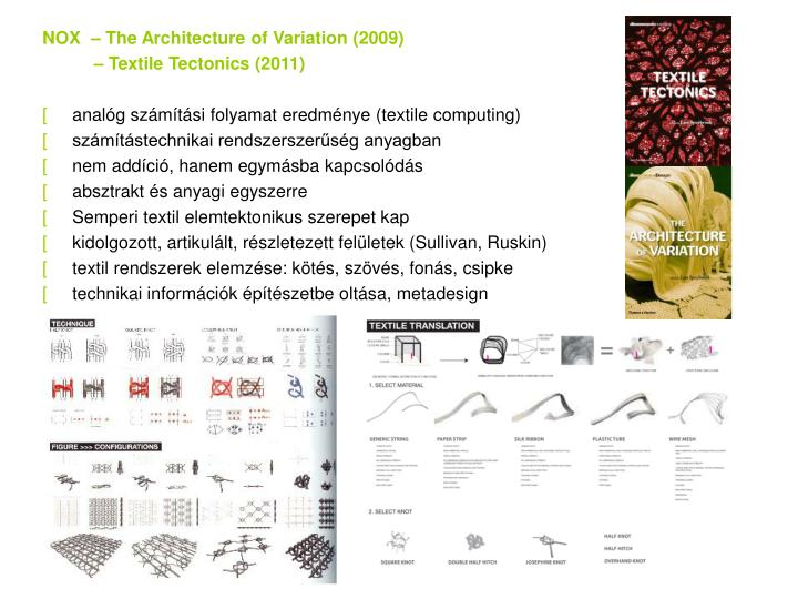 NOX  – The Architecture of Variation (2009)