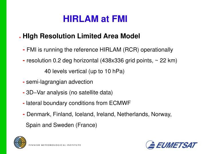 HIRLAM at FMI