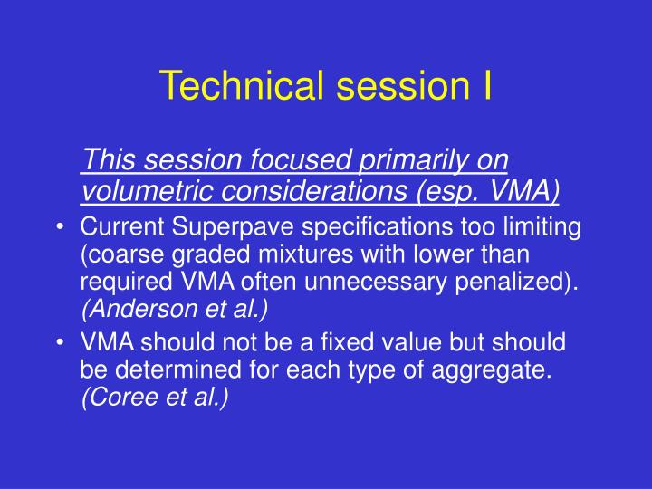 Technical session I