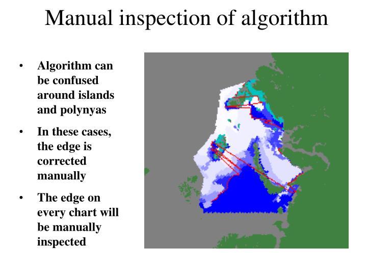 Manual inspection of algorithm
