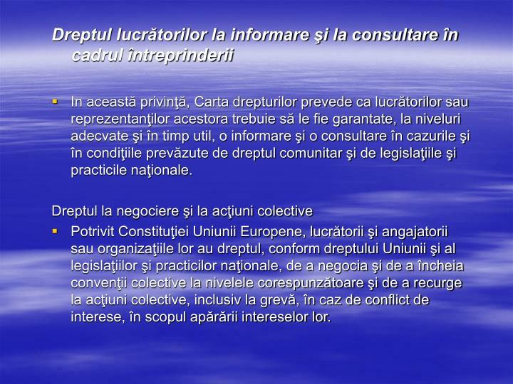 Dreptul lucrătorilor la informare şi la consultare în cadrul întreprinderii