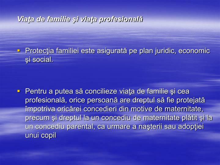 Viaţa de familie şi viaţa profesională