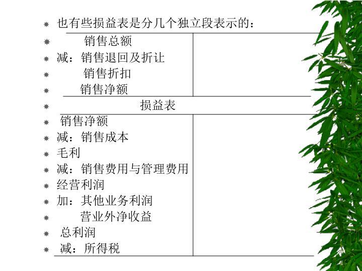也有些损益表是分几个独立段表示的: