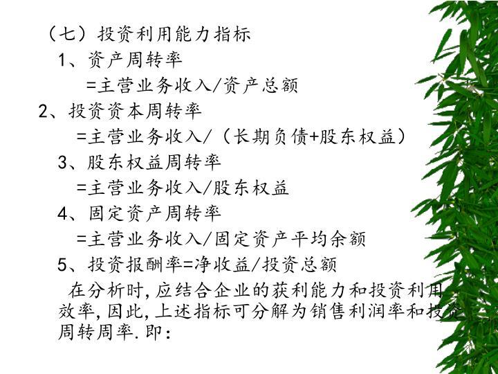 (七)投资利用能力指标