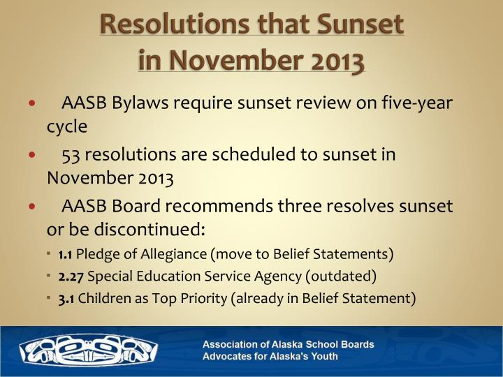 Resolutions that Sunset