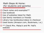 math steps at home for students and parents