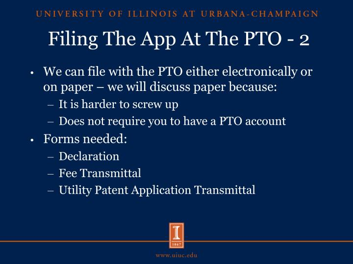 Filing The App At The PTO - 2