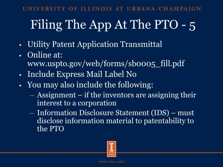 Filing The App At The PTO - 5