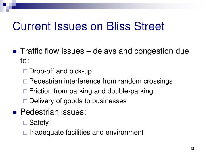 Current Issues on Bliss Street