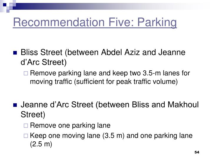 Recommendation Five: Parking