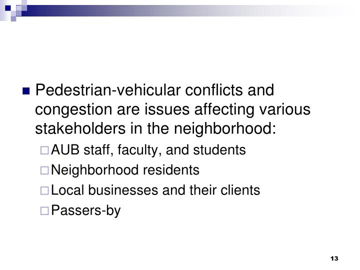 Pedestrian-vehicular conflicts and congestion are issues affecting various stakeholders in the neighborhood: