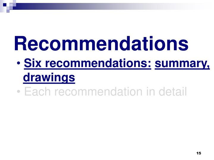 Six recommendations: