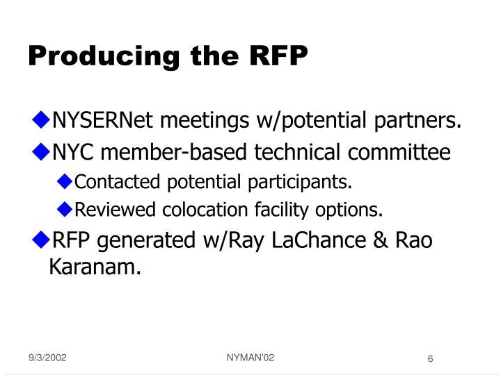 Producing the RFP