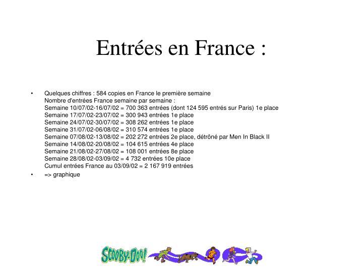 Entrées en France :