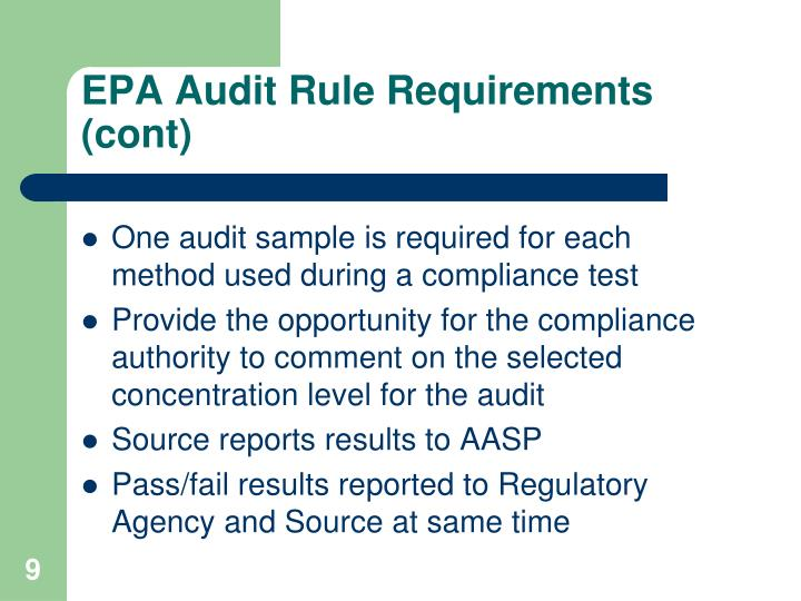 EPA Audit Rule Requirements (cont)