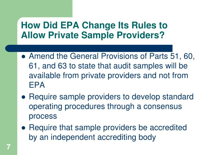 How Did EPA Change Its Rules to Allow Private Sample Providers?