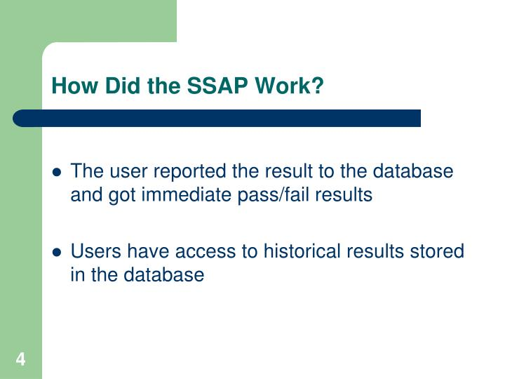 How Did the SSAP Work?