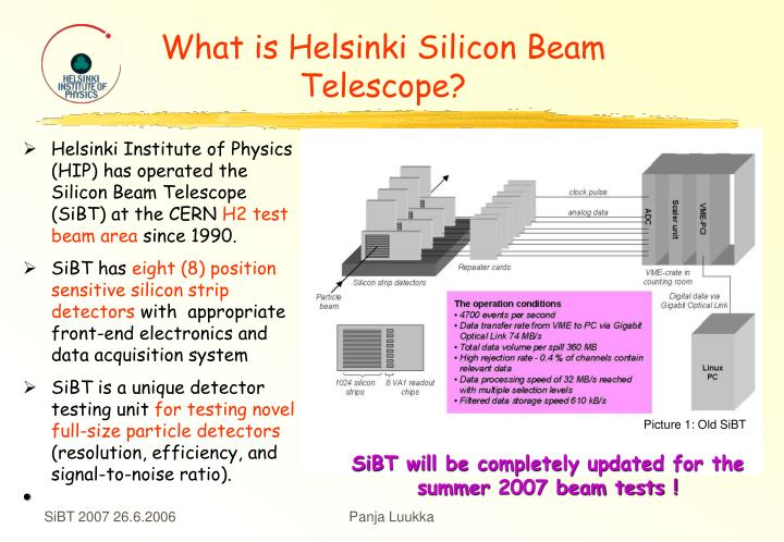 what is helsinki silicon beam telescope n.