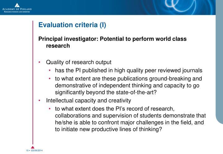 Evaluation criteria (I)