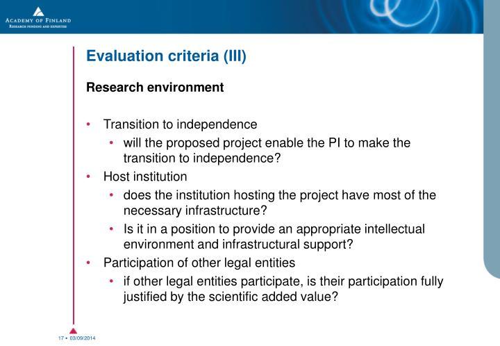 Evaluation criteria (III)