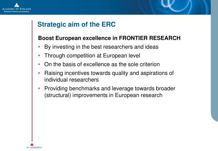 Strategic aim of the ERC