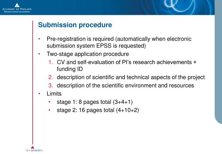Submission procedure