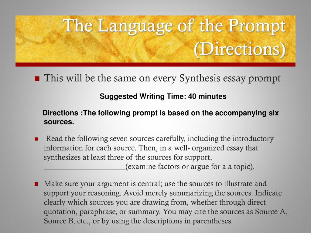 ppt   the synthesis essay powerpoint presentation   id the language of the prompt directions