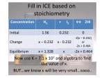 fill in ice based on stoichiometry