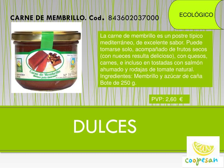 CARNE DE MEMBRILLO. Cod
