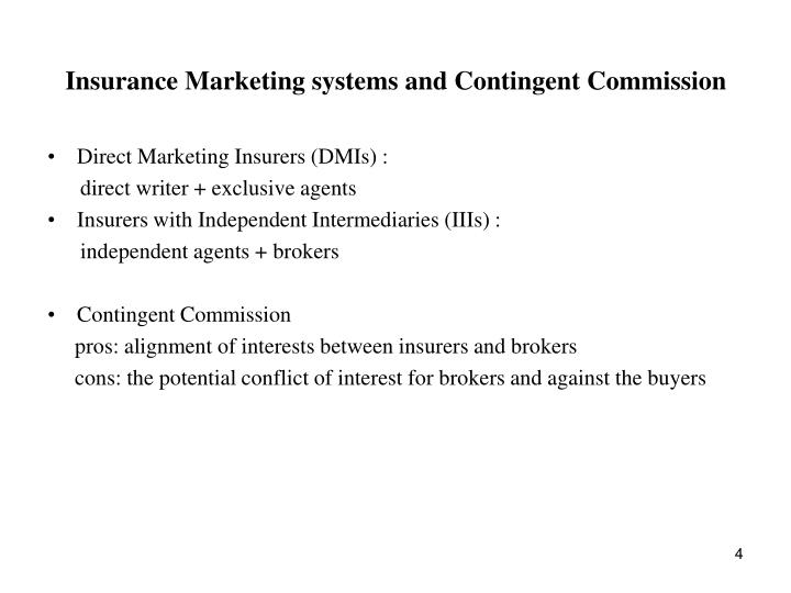 Insurance Marketing systems and Contingent Commission