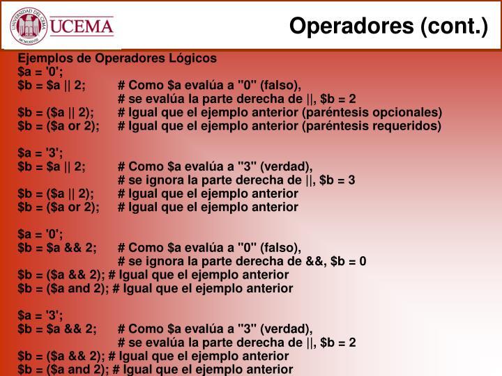 Operadores (cont.)