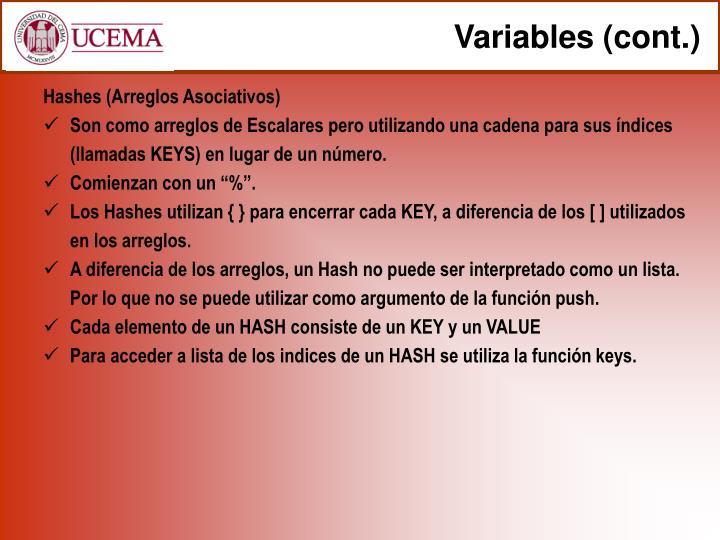 Variables (cont.)