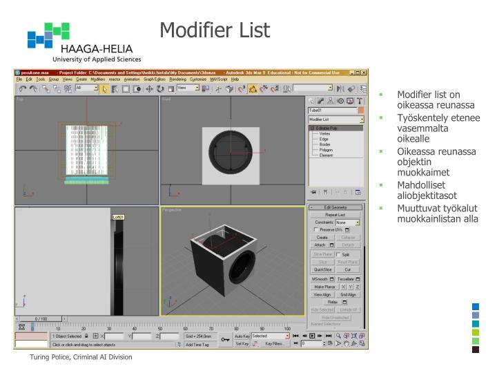 Modifier List