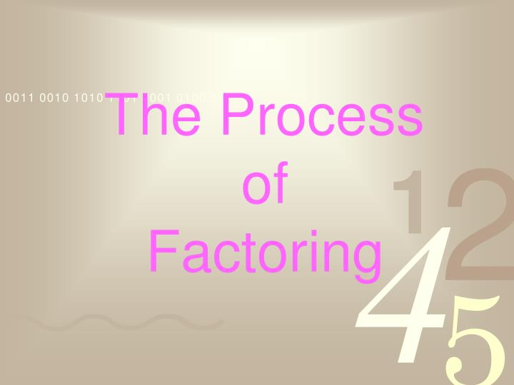 The process of factoring