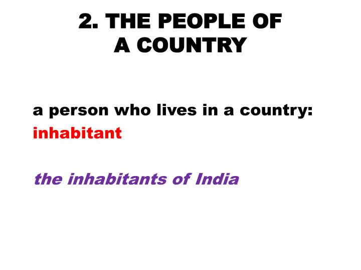2. THE PEOPLE OF