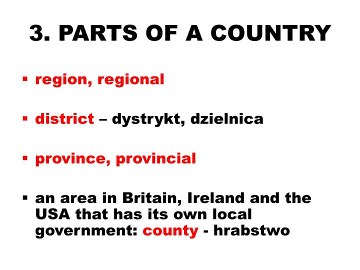 3. PARTS OF A COUNTRY
