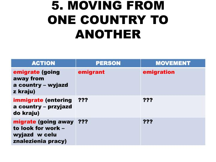 5. MOVING FROM