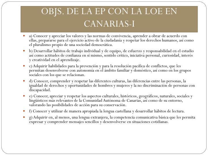 OBJS. DE LA EP CON LA LOE EN CANARIAS-I