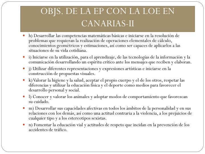 OBJS. DE LA EP CON LA LOE EN CANARIAS-II