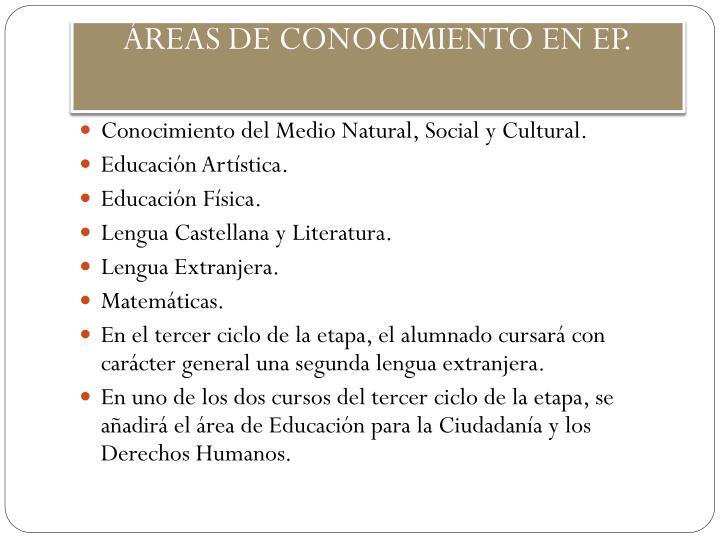 ÁREAS DE CONOCIMIENTO EN EP.