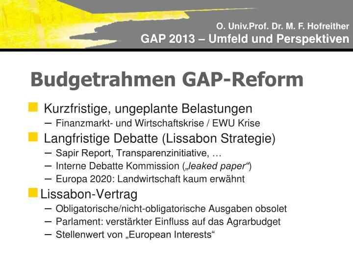 Budgetrahmen GAP-Reform