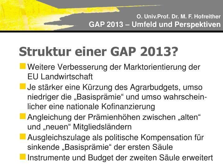 Struktur einer GAP 2013?
