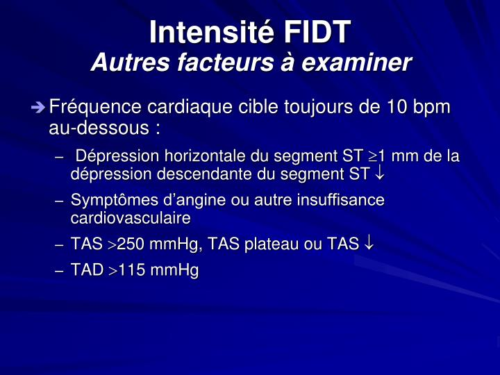 Intensité FIDT