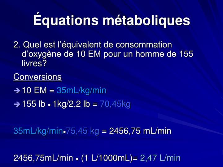 Équations métaboliques