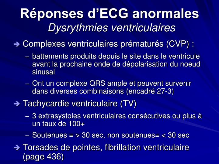 Réponses d'ECG anormales