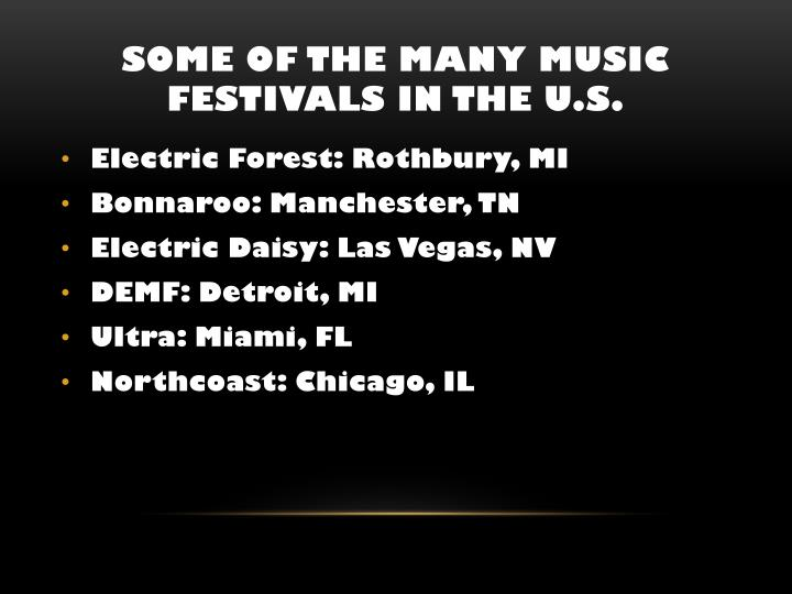 Some of The many Music Festivals in the U.S.