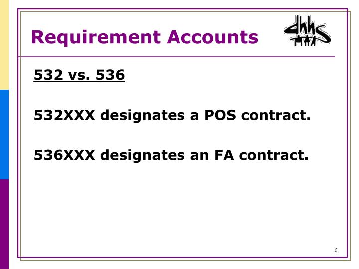 Requirement Accounts