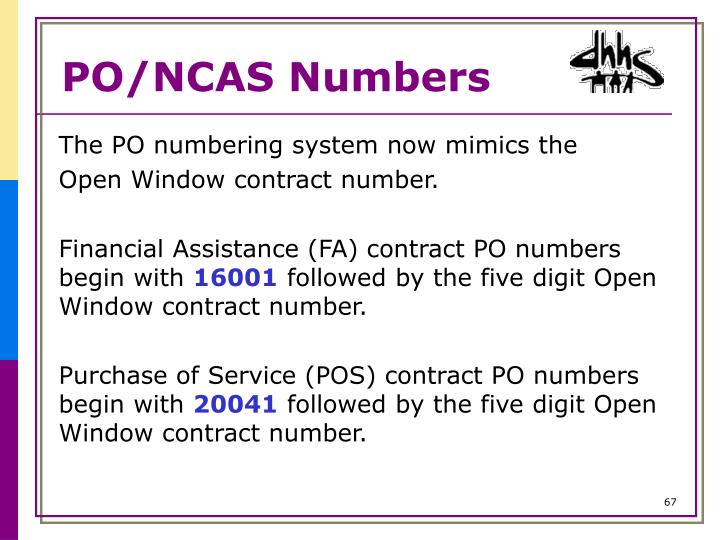 PO/NCAS Numbers